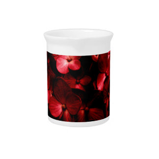 Red Flowers Bouquet in Black Background Photo Beverage Pitcher
