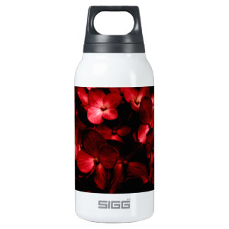 Red Flowers Bouquet in Black Background Photo Insulated Water Bottle