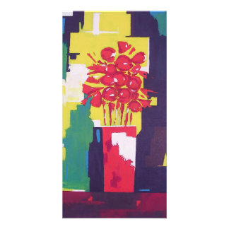 Red Flowers Bouquet Painting - Red Vase - Modern Card