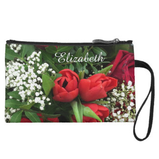 Red Flowers Bouquet Personalized Bagettes Bag