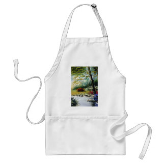 Red Flowers by a stream flowers Adult Apron