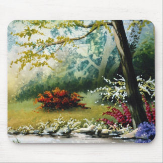 Red Flowers by a stream flowers Mousepads