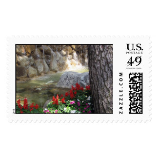 Red Flowers by a Stream Postage