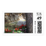 Red Flowers by a Stream Stamps