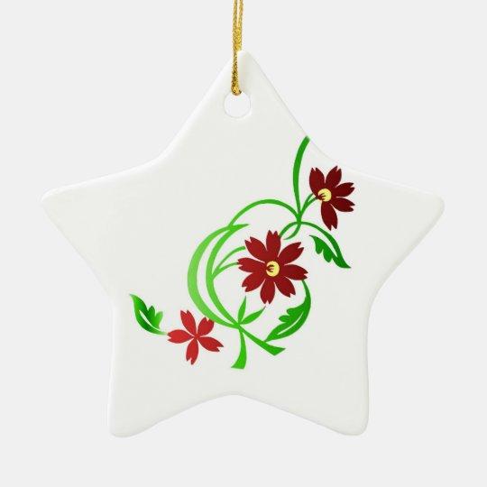 Red flowers ceramic ornament