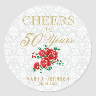 Red Flowers - Cheers to (Any Age) Years Classic Round Sticker