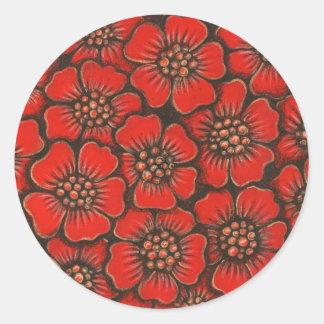 red flowers classic round sticker