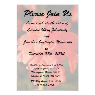 """red flowers close up 5"""" x 7"""" invitation card"""