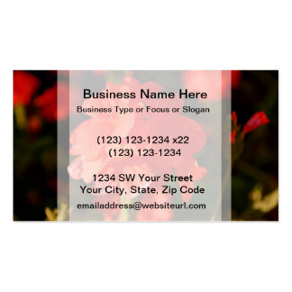 red flowers close up business card