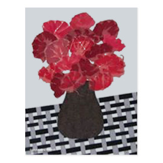 Red Flowers Collage by Laurie Mitchell Postcard
