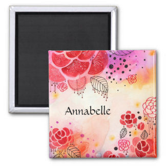 Red Flowers Custom Text 2 Inch Square Magnet