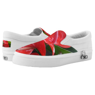Red Flowers Custom Zipz Slip On Shoes,Men & Women
