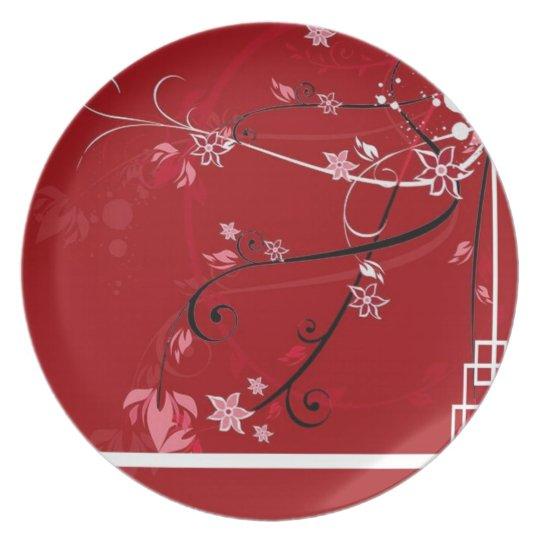Red flowers dinner plate