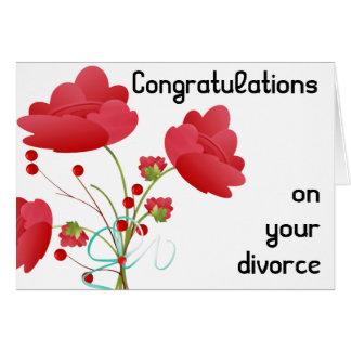 Red Flowers Divorce Greeting Card