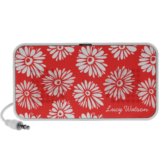 Red Flowers Doodle speakers