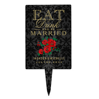 Red Flowers - Eat, Drink and Be Married Cake Topper