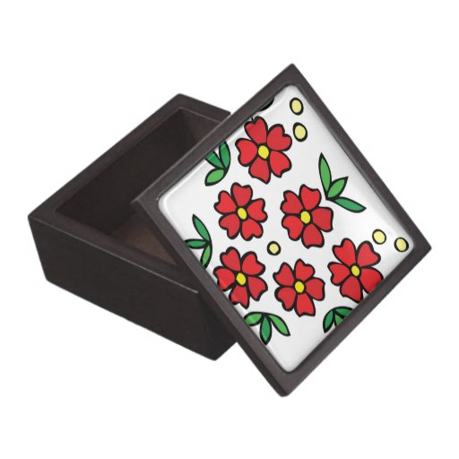 Red flowers gift box floral design premium jewelry boxes