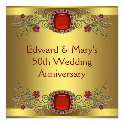 red flowers gold 50th wedding anniversary party card zazzle. Black Bedroom Furniture Sets. Home Design Ideas