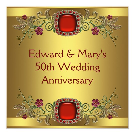 Flower For 50th Wedding Anniversary: Red Flowers Gold 50th Wedding Anniversary Party Invitation