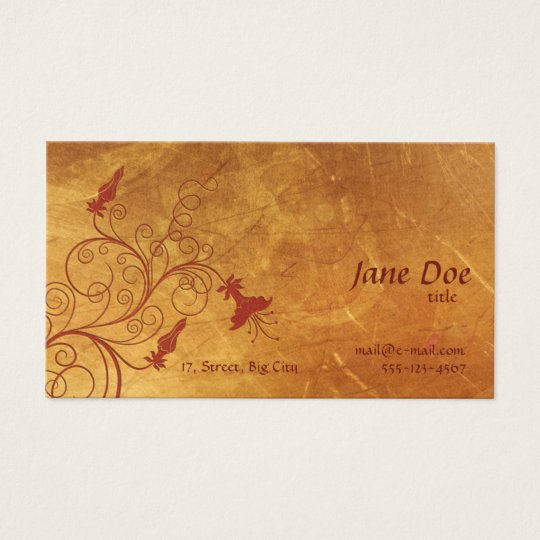Red Flowers Golden Business Card
