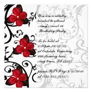 Red Flowers Gothic Sweet 16 Birthday Invites