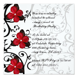 Red Flowers Gothic Sweet 16 Birthday Invites