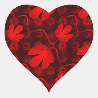 Red Flowers Heart Sticker