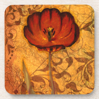 Red Flowers I Drink Coaster