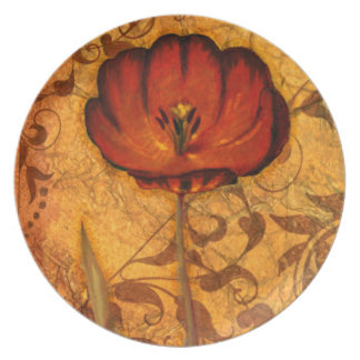 Red Flowers I Party Plates