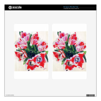 Red Flowers Impressionist Floral Kindle Fire Decals
