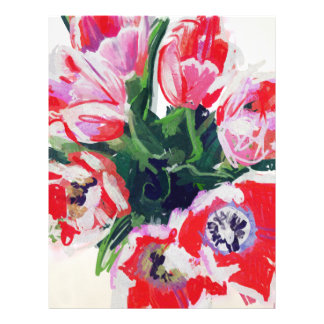 Red Flowers Impressionist Floral Letterhead