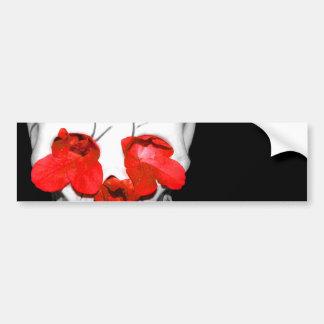 Red Flowers In A Skull Bumper Sticker