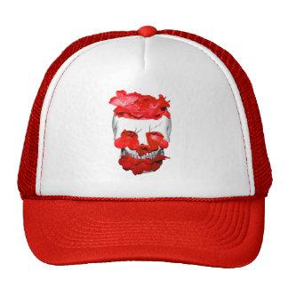 Red Flowers In A Skull Trucker Hat
