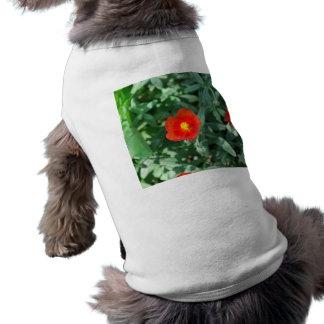Red Flowers in Greenery - Wonderful Nature Dog Tee Shirt