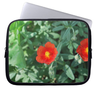 Red Flowers in Greenery - Wonderful Nature Laptop Computer Sleeve