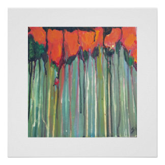Red flowers in tall grass poster