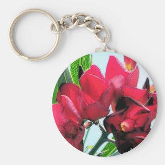 Red Flowers Basic Round Button Keychain