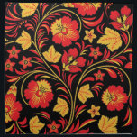 "Red Flowers Khokhloma Cloth Napkin<br><div class=""desc"">Red Flowers Khokhloma Black Napkin</div>"