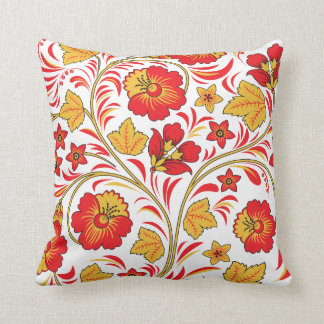 Red Flowers Khokhloma Throw Pillow