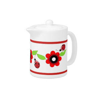 Red Flowers & Ladybugs Ceramic Tea Pot