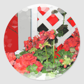 Red flowers lattice nature floral photo classic round sticker