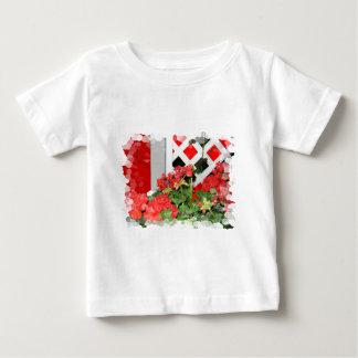 Red flowers lattice nature floral photo infant t-shirt