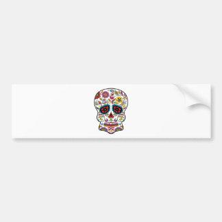 Red Flowers Mexican Tattoo Sugar Skull Bumper Sticker