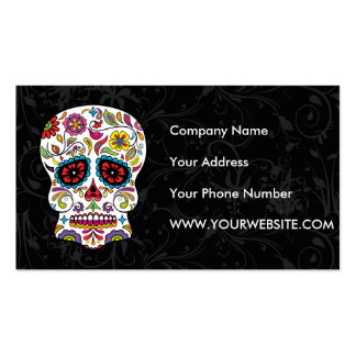 Red Flowers Mexican Tattoo Sugar Skull Double-Sided Standard Business Cards (Pack Of 100)