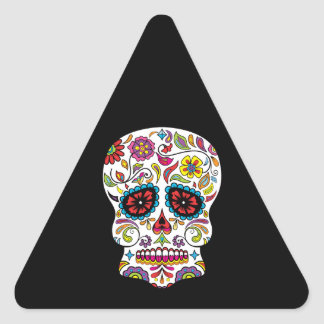 Red Flowers Mexican Tattoo Sugar Skull Triangle Sticker