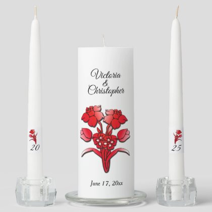 Red Flowers Names and Date Unity Candle Set