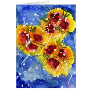 Red Flowers Notecard Stationery Note Card