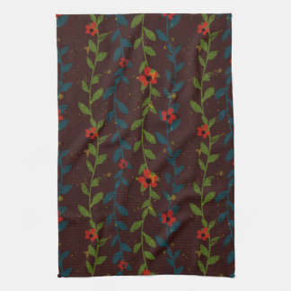 Red Flowers on Blue and Green Vines Kitchen Towels
