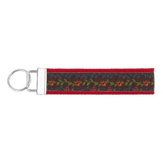 Red Flowers on Blue and Green Vines Wrist Keychain