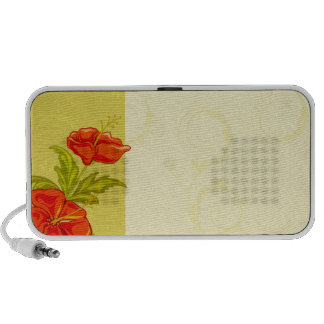 Red flowers on khaki background mp3 speakers
